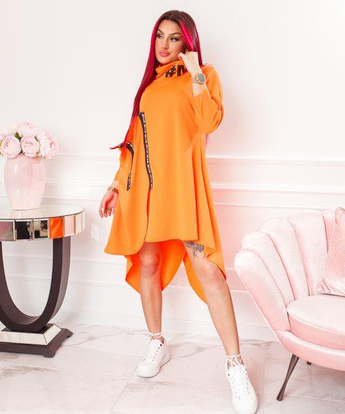 pomaranczowa-neonowa-sukienka-damska-asymetryczna-z-suwakami-i-stojka (2)