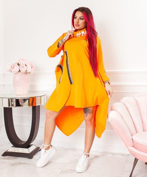 pomaranczowa-sukienka-damska-asymetryczna-z-suwakami-i-stojka (5)