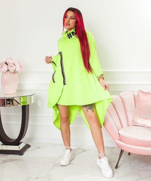 zielona-neonowa-sukienka-damska-asymetryczna-z-suwakami-i-stojka (2)