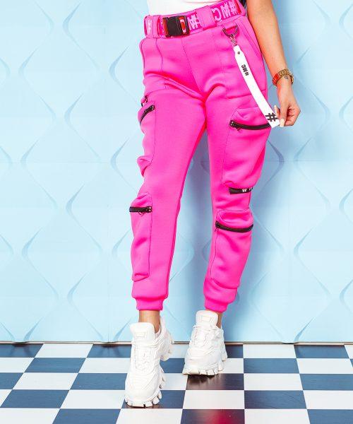 rozowe-neonowe-spodnie-damskie-piankowe-z-kieszeniami-i-paskiem (1)